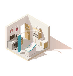 isometric low poly doctors office icon vector image