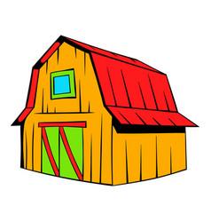 wooden barn icon cartoon vector image