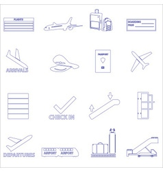 airport and airplane simple outline icons set vector image vector image