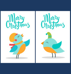 merry christmas birds titles vector image vector image