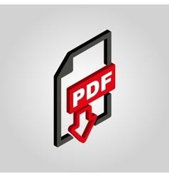 PDF icon 3D isometric file format symbol Flat vector image