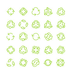 recycling ecology thin line icon set vector image