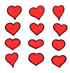set of hand drawn sketch hearts grunge vector image