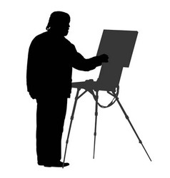 Silhouette artist at the easel vector image