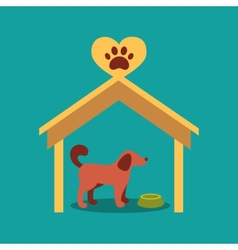 a signboard beside a doghouse with vector image