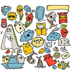 doodles colour stickers vector image
