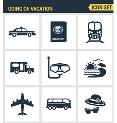 Icons set premium quality of going vacation icon vector image vector image