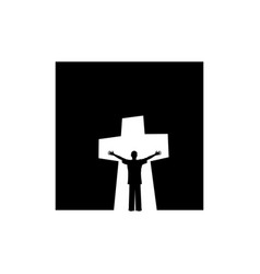 Man in the background of the cross of jesus christ vector