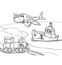 plane ship train cartoon coloring page vector image