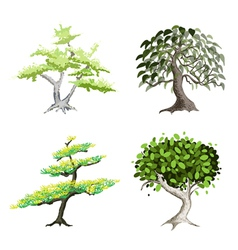 An Isometric Set of Green Trees and Plants vector