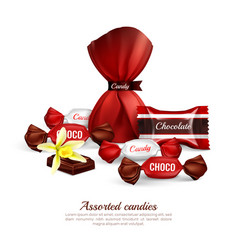 assorted candies realistic composition vector image