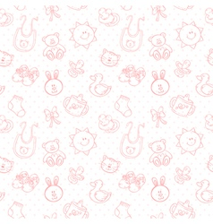 Baby toys cute cartoon set seamless pattern vector image