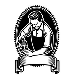 badge design of barista making the latte art vector image