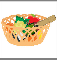 basket with fruits and champagne bottle vector image