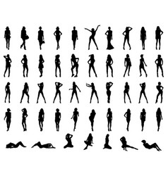 black silhouettes girls vector image