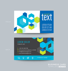 blue business card design with isometric cube vector image