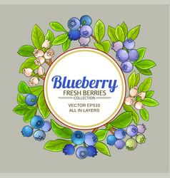 blueberry frame on color background vector image