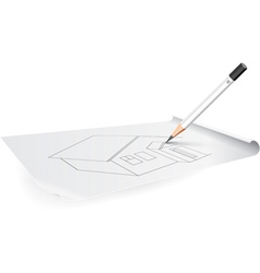 board for drawing with pencil and triangle vector image