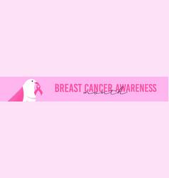 breast cancer awareness pink ribbon bird banner vector image
