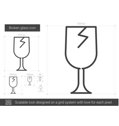 Broken glass line icon vector