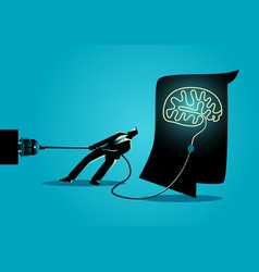 businessman trying to unplug the brain vector image