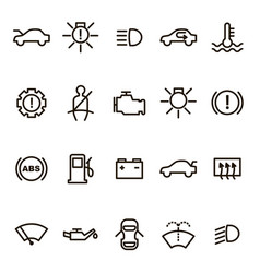 car dashboard signs black thin line icon set vector image