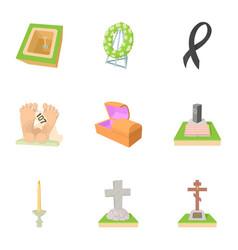 cemetery icons set cartoon style vector image