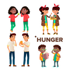 Character girl and boy feeling hunger set vector