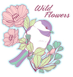 chicadee on a floral branch vector image