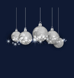 christmas ball silver on background vector image