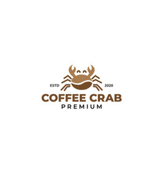 Coffee beans with crab logo design vector