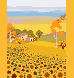 countryside farm with sunflower growing vector image