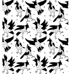 crows in crowns black and white seamless pattern vector image