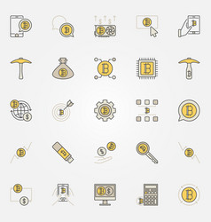 cryptocurrency colorful icons set of vector image