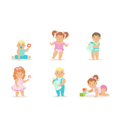 Cute happy toddler babies set adorable boys and vector