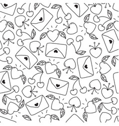 doodle seamless valentines day pattern isolated vector image