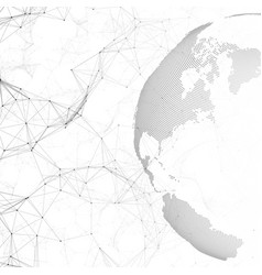 dotted world globe connecting lines and dots vector image vector image