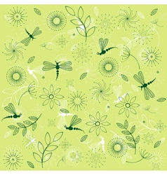 dragonflies and flowers vector image