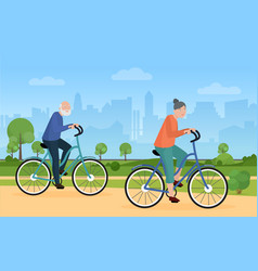 elderly people ride bike bicycle in city park vector image