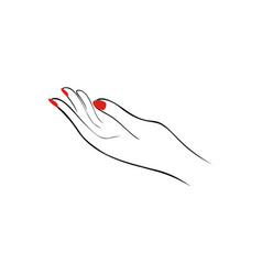 female hand with red nails manicure fashion vector image