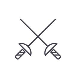 fencing swords flat line concept vector image