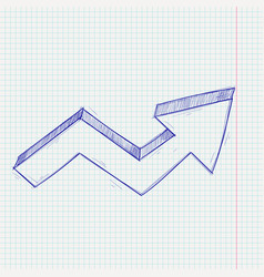 Financial up arrow rising trend graph on lined vector