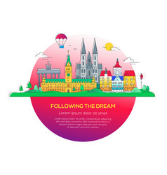 following dream - line travel vector image