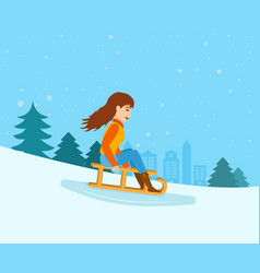 Girl rolled down from mountain slope on a sled vector