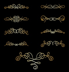 Gold curly elements on black - set vector