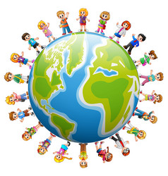 Happy group of children standing around the world vector