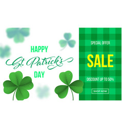 happy saint patricks day sale banner with vector image