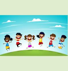 Happy school multiracial children joyfully jumping vector