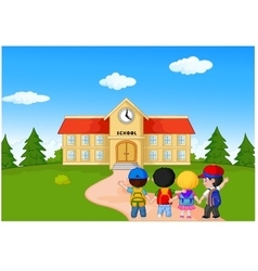 Happy young children walking together to school vector
