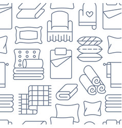 home textiles seamless pattern with flat line vector image